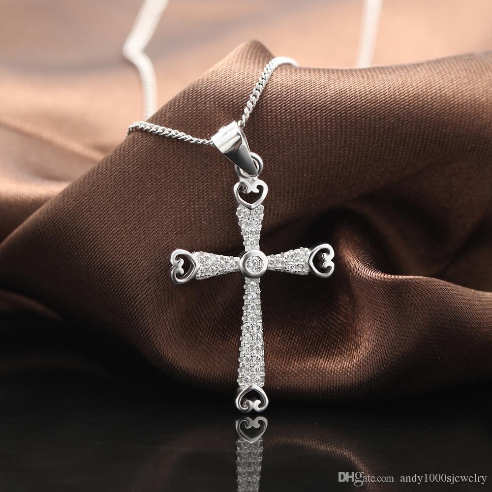 2018 925 Sterling Silver Unique Women Pendant Fashion Cross Charm Jewelry Gift Souvenir,Silver Diamonds Cross Religious Pendant