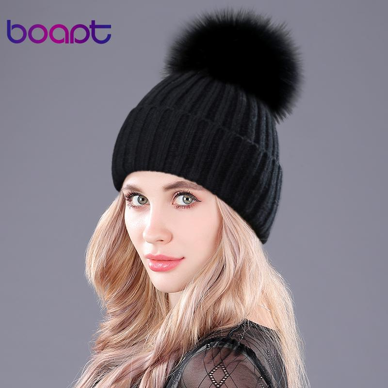 [boapt] Warm Natural Raccoon Fur Hats for Women Knitted Braid Beanie Female Caps Pompon Headgear Winter Girl Lady Skullies Hats Y18102210