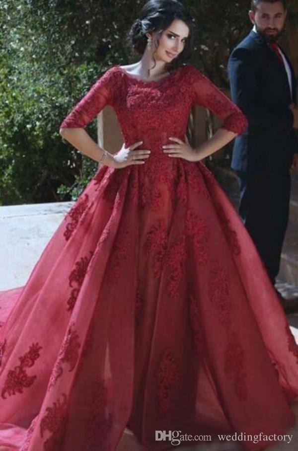 Burgund Prom Dresses Jewel Neck Lace Appliques schiere Ärmel lange formale Abendkleid mit abnehmbaren Zug abnehmbaren Rock