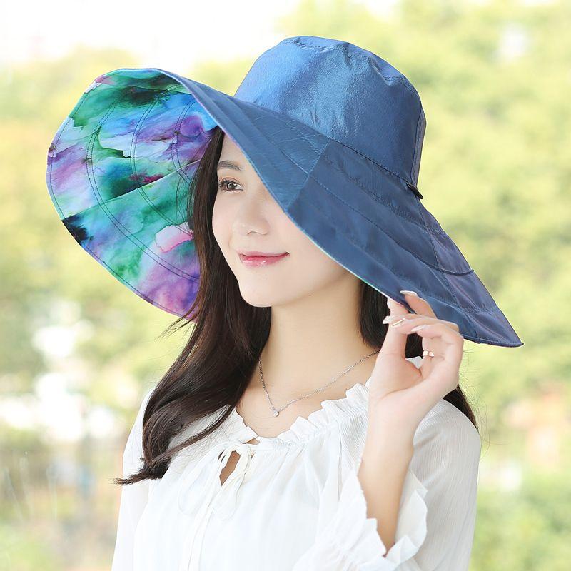85fad91dd75d6a Lady New Travel Sun Hat Wide Brim Girls Summer Seaside Beach Sun Cap Female  UV Sunscreen All Match Folding Sunshade Cap B 8101 Ladies Hats Floppy Hats  From ...