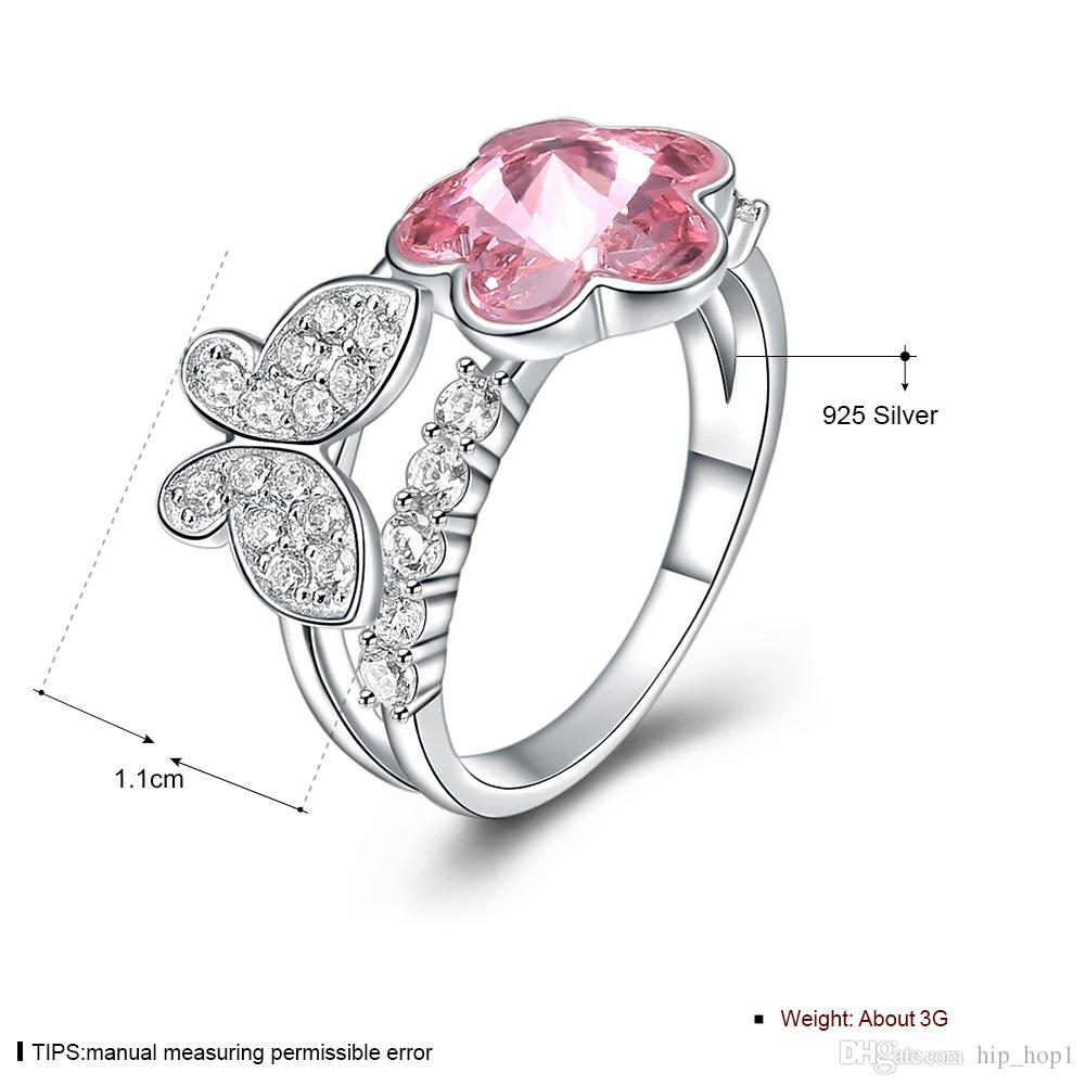 New Fashion Jewelry Crystal Butterfly Flower Ring for Female Wedding Party Crystal Gemstone Ring S925 Sterling Silver Jewelry Party Gift