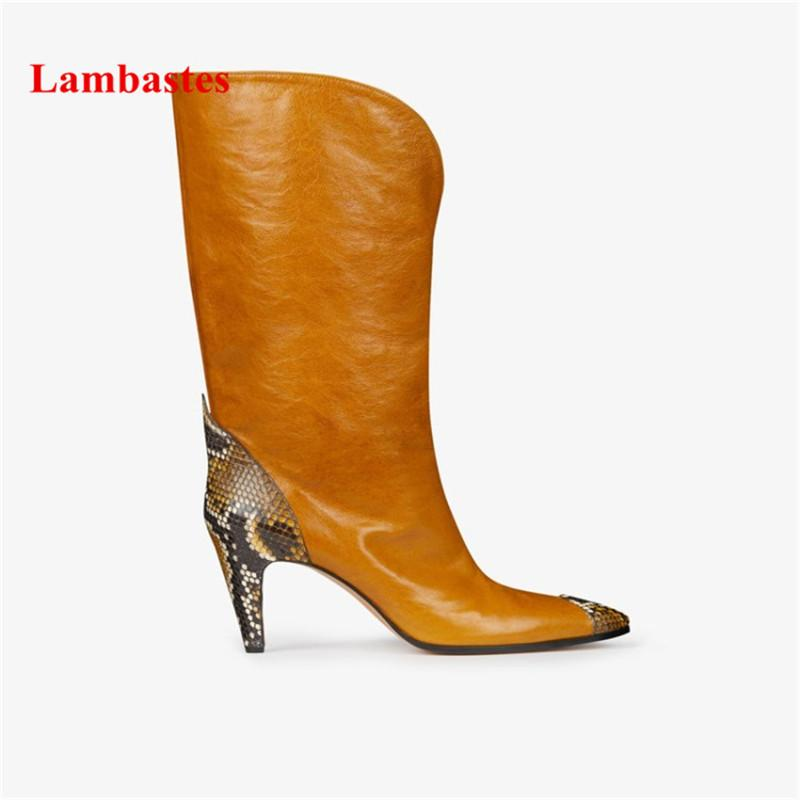 0c570d7b68e Botas Mujer Ginger Yellow Snake Pattern Genuine Leather Women Mid Calf Boots  Thin Heel Shoes Slip On Patchwork Casual Bottines Sexy Shoes Boots Shoes  From ...