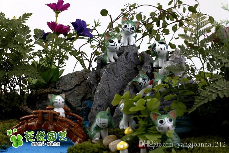 Résine Cartoon Kitty Poupées Artisanat Miniature Moss Bonsaï Pots Décoration Fromage Chat Table Succulent Terrarium Décor Foire Jardin Figurines