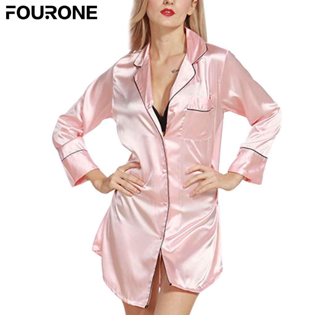 Manches Fille À Robe Femmes Nuit Vêtements Bain Soie Chemises De Sexy Sleeptop Bouton Longues Pyjama Satin 0XPN8nwOk