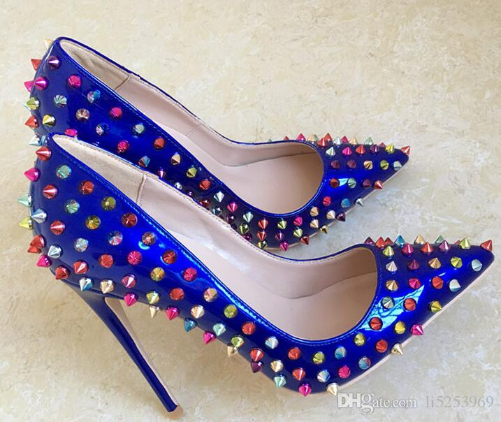 b9a6c06d841 Women Pumps Red Bottom High Heels Shoes Royal Blue Colorful Rivet Pointed  Toe Sexy Fine Heel Wedding Shoes Fashion High Heels Shoes 12cm Leather  Shoes For ...