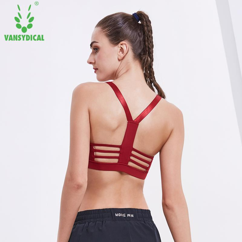 4519cd254a 2019 Vansydical Push Up Sports Bra Women Athletic Tops Padded Running  Undwerwear Sexy Yoga Vests Adjustable Straps Fitness Gym Bras From  Huanbaoxin