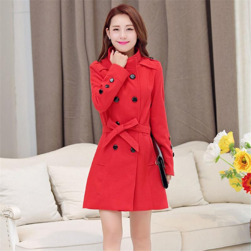 Woolen Coat Women Slim Casual Double Breasted Women Double Overcoat Trench Woolen Coat Long Section Outerwear for Office