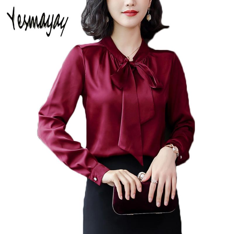 d0550df230d220 2019 Silk Blouse With Bow Plus Size 2018 Autumn Elegant Slim Blouse Women  Long Sleeve Work Wear Office Shirt Women Casual Top From Mujing