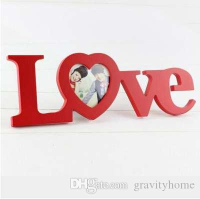 2018 White Red Love Design Wedding Decoration Wooden Photo Frame ...