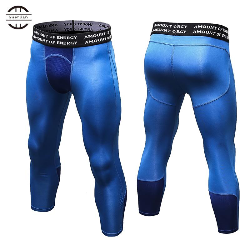 fa16ffc35e3698 2019 Yuerlian Gym 3/4 Leggings New Compression Sports Tights Sweat Pants  For Men Jogging Trousers Running Quick Dry Sporswear Fitness From Brandun,  ...