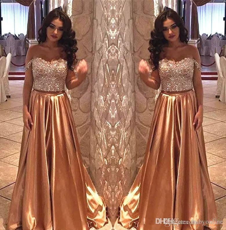 2018 Sexy Crystal Sweatheart Gold A Line Prom Dresses Crystal Beaded