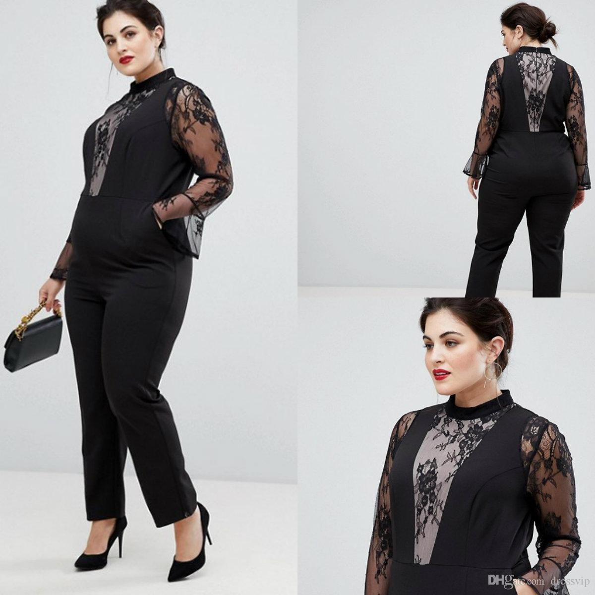 5419df4cf61 Fashion Plus Size Women Jumpsuit High Neck Lace Long Sleeve Ankle Length  Black Evening Dresses Prom Custom Made Formal Party Gowns Pants Beautiful  Prom ...