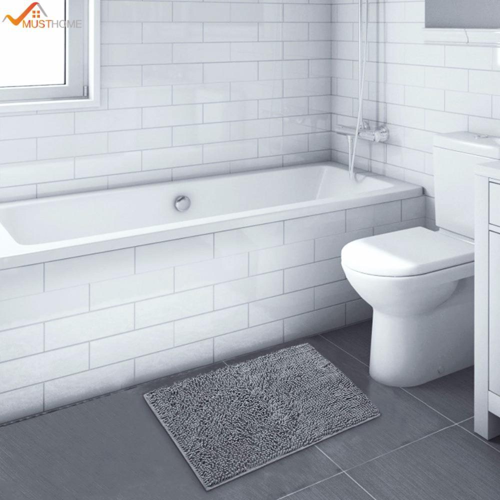 2018 40*60cm Absorbent Soft Shaggy Non Slip Bath Mat Bathroom Shower ...