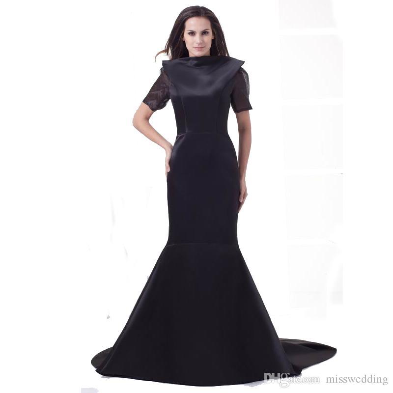 Acquista Vestito Da Donna Stile Sirena Da Sera In Raso Nero Moda Vestito Da Donna  Maniche Corte Con Scollo Posteriore Sexy Senza Maniche 2018 Prom A  100.51  ... 8a7270ad7d9
