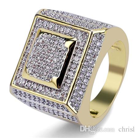 f21241068e712 Men s 14K Gold Cluster ICED OUT Layered Squares Ring Sizes Micro Pave CZ  Hip Hop Jewelry