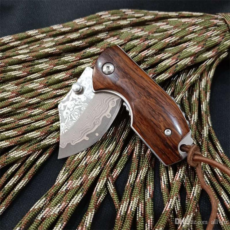 New EDC Pocket Knife Damscus Steel Blade Rosewood Handle Mini Small Keychain Folding Knives Liner Lock