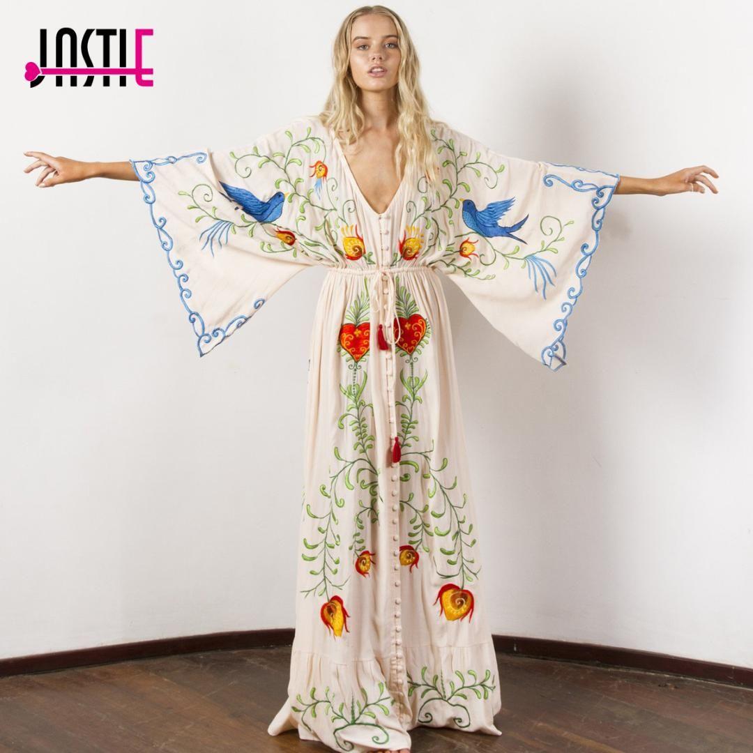 9187b31287 Jastie Embroidered Women Maxi Dress V Neck Batwing Sleeve Loose Plus Size Summer  Dresses Drawstring Waist Boho Beach Vestidos Evening Cocktail Dresses ...
