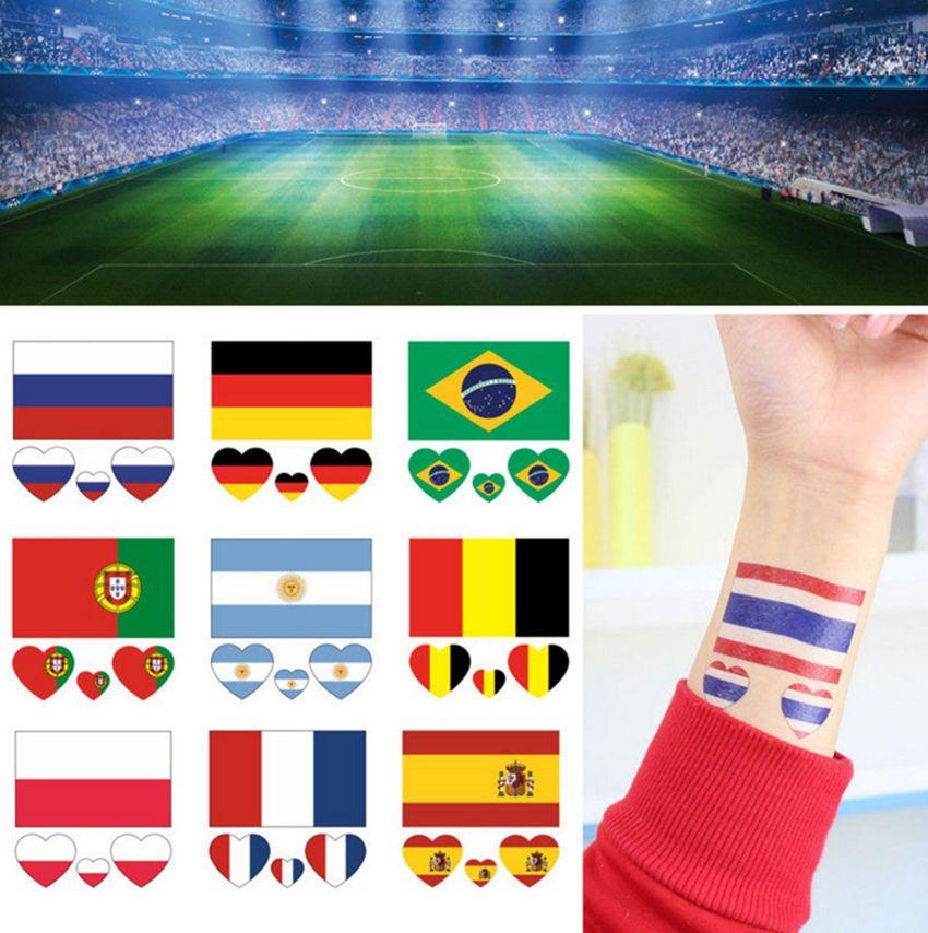 2018 Temporary Tattoos Flag Tattoo Sticker Football World Cup Waterproof  Long-lasting Hand Face Sticker Fan Tattoo Body Art