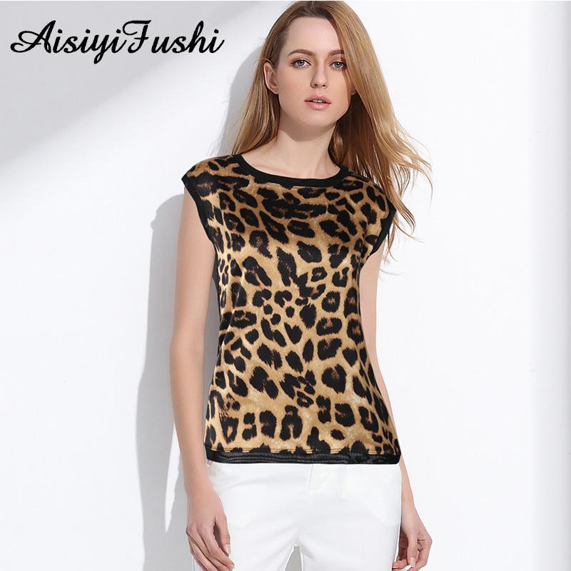 f243f8359d92e1 2019 Women S Leopard Print Silk Blouse Summer Leopard Chiffon Shirt Women  Casual OL Silk Satin Print Top Blouse Sleeveless From Sikaku