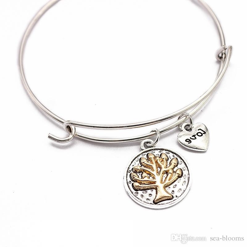 New Tree Of Life Charm Bracelet Alloy Bracelet Expandable Bangle Bracelets For Women Girlfriend Gift Jewelry Support FBA Drop Shipping G913R