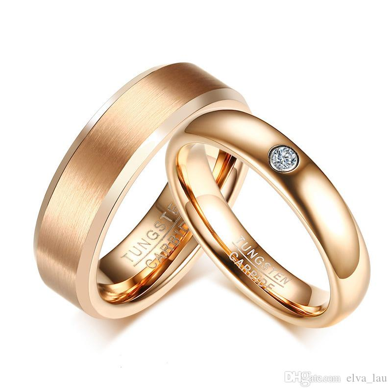 Elegant Couple Wedding Bands Rings for Women Men Pink Gold Tone Cubic Zirconia PureTungsten Carbide Engagement Promise Finger Love Ring