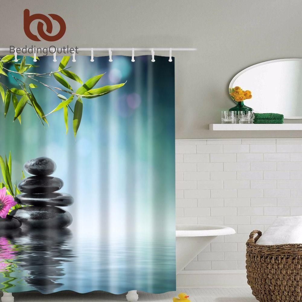 2018 Beddingoutlet Bamboo Basalt Stones Flower Shower Curtain Mildew ...