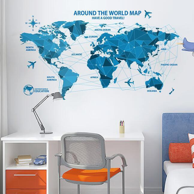 dlx0960c world map wall sticker for baby early education english