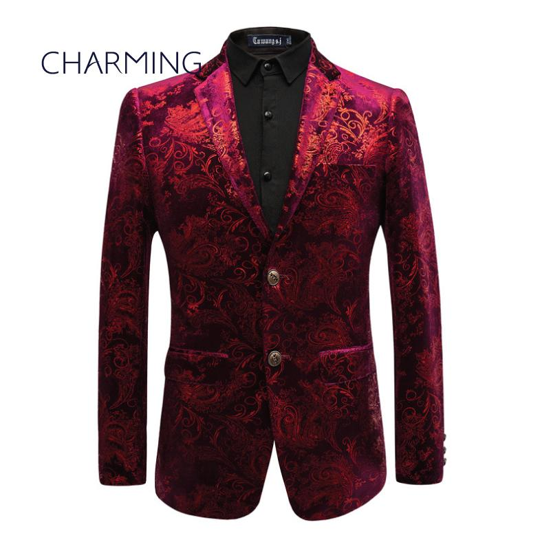 7ac67b835 Maroon Suit Men High-end Custom Gold Velvet Fabric Stamping Printing Design  Gentleman Dress Suitable for Singers