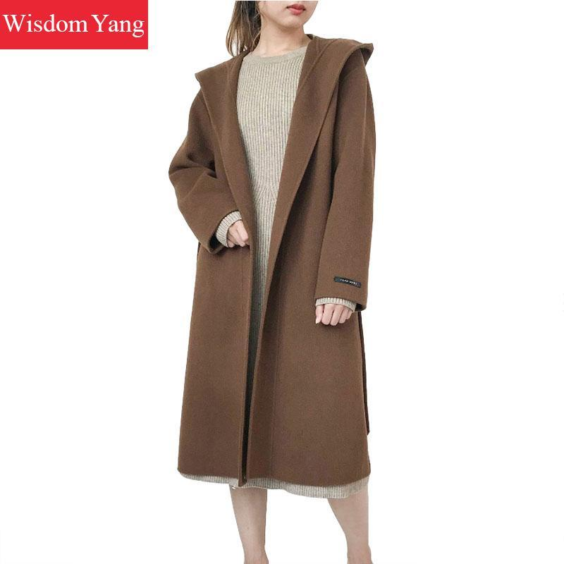 Black Houndstooth Plaid Wool Women Coats Green Camel Yellow Winter Warm Hooded Overcoat Woolen Woman Casual Loose Coat Outerwear
