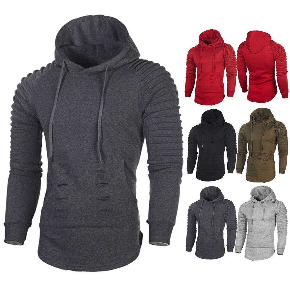 3ee958fc0864 2018 Autumn Men Fashion Solid Color Hooded Hoodie Hip Hop Sling Sweatshirt  Hoodies Autumn Pullover Male Hoody 3XL Hoodies   Sweatshirts Cheap Hoodies  ...