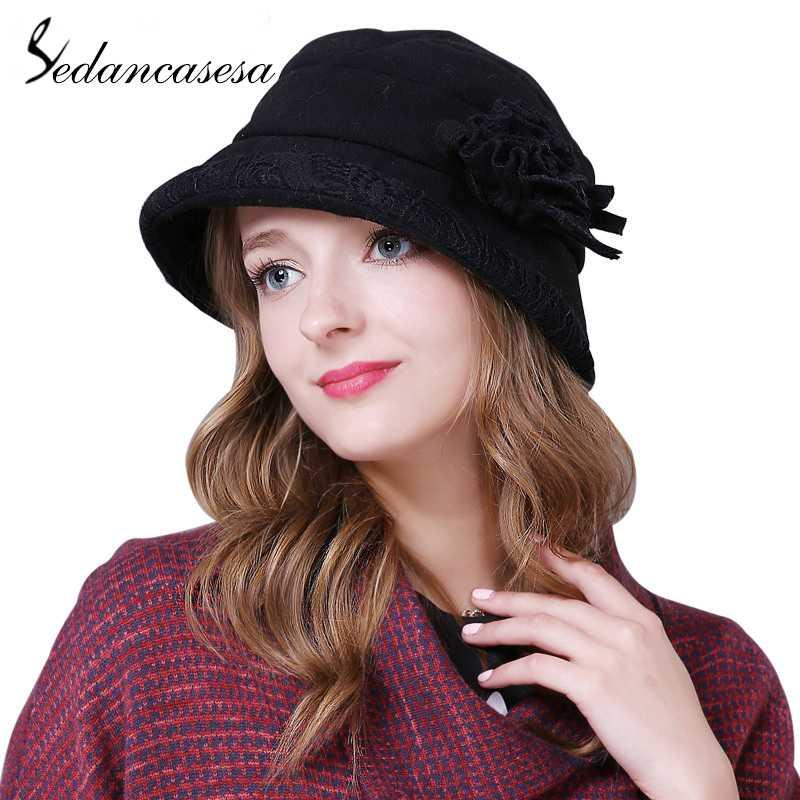 0fbb8cb9498 Sedancasesa Autumn And Winter Korean Style Berets Fashion Female Ladies  Warm Hat Female Bucket Hats Handmade Flowers Girls Caps Crazy Hats Fishing  Hat From ...