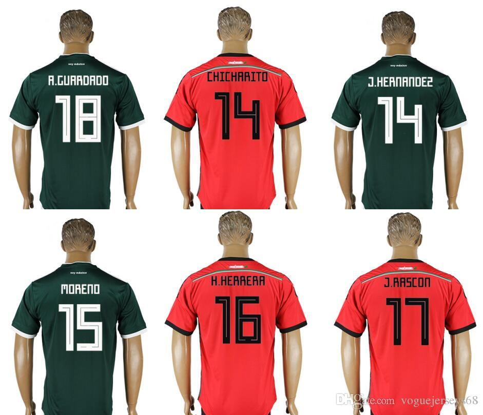 ae7b98cc569 2019 Mexico #18 Andres Guardado 16 Hector Herrera 15 Hector Moreno 14  Javier Hernandez Chicharito Mens Uniforms Football Shirts Soccer Jerseys  From ...