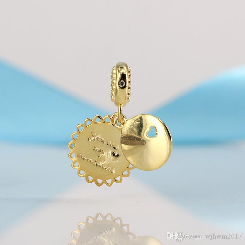 9529524e6 ... buy 2018 2018 real 925 sterling silver bead you are my sunshine pendant  18k gold plating
