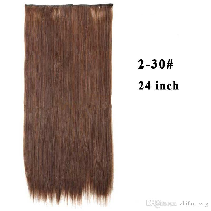 ZhiFan 5 clip extensions mixed color hair extensions honey brown 24inch straight clip-in clip extensions sale