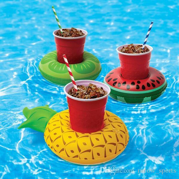 Hot Sale Mini Cute Kids Bath Toy Pineapple/Lemon/Watermelon Floating Inflatable Drink Cup Holders For Swimming Pool Bathing Beach Party