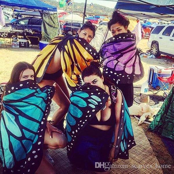 Mujeres Mariposa Ala Grande Hada Cabo Bufanda Bikini Cubrir Chiffon Gradient Beach Cover Up Mantón del pavo real Cosplay es