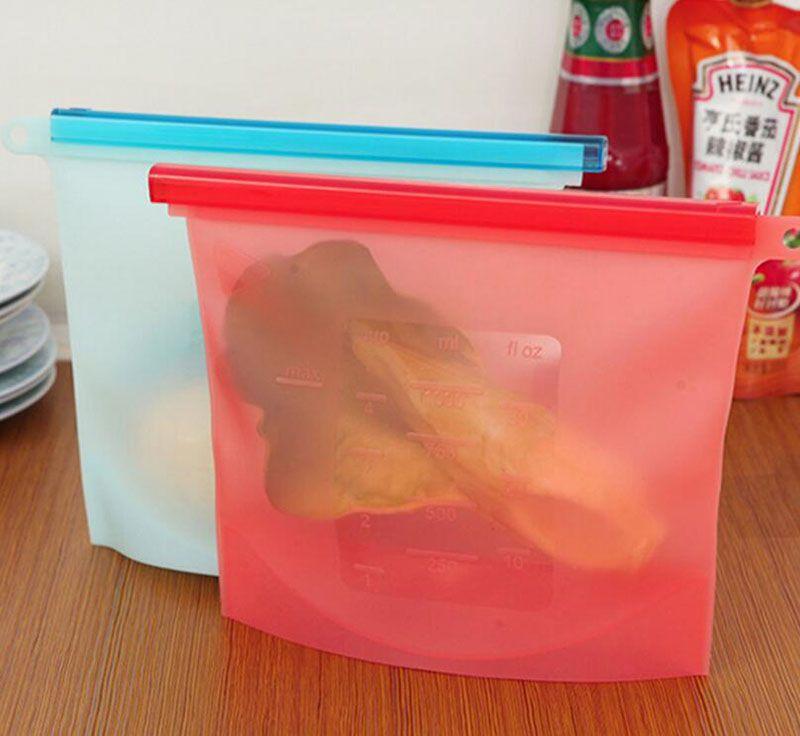 Sqinans Reusable Silicone Vacuum Food Storage Zip Lock Bags Fridge