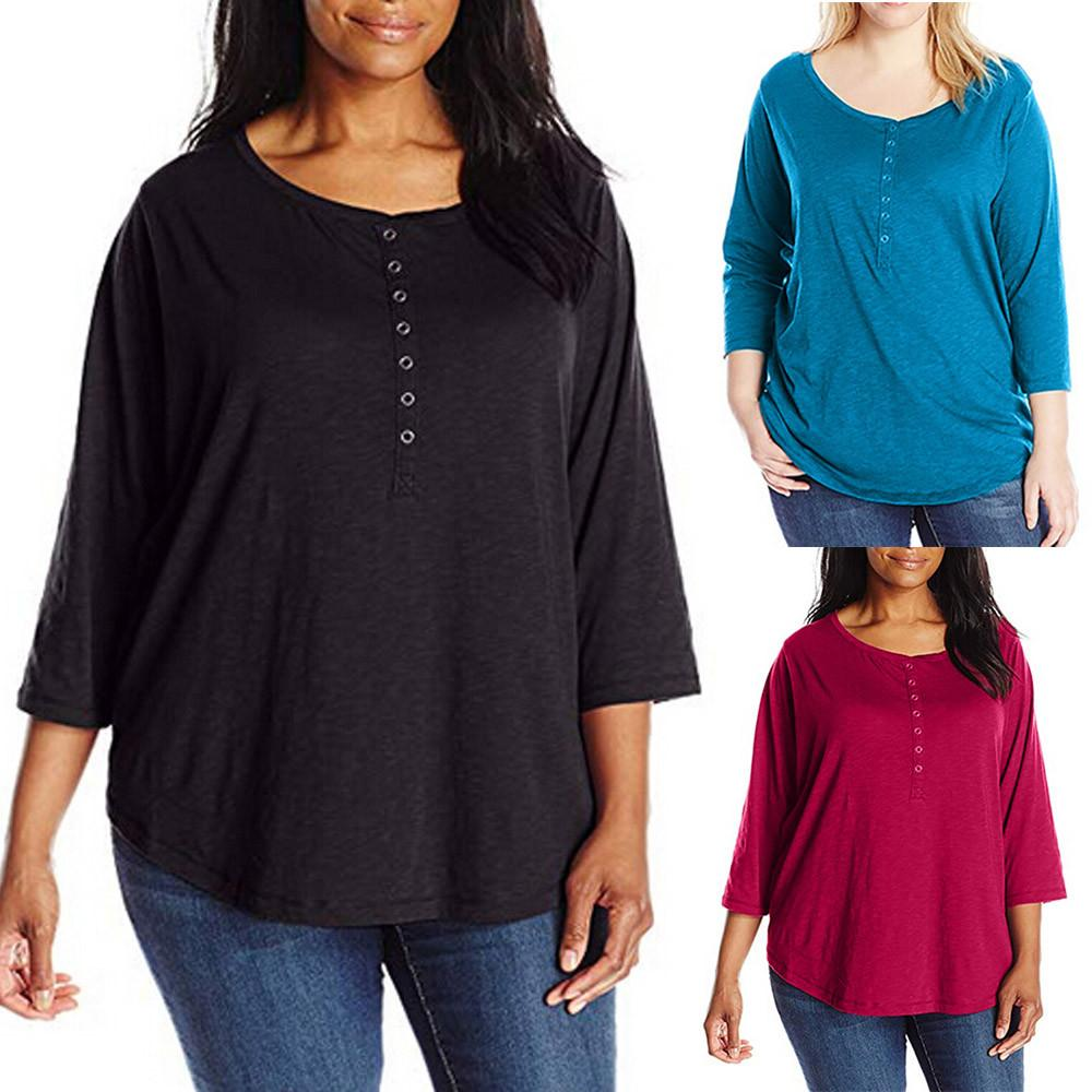 1f419892 2018 New Fashion Women Plus Size Solid Casual O Neck 3/4 Sleeve Durable  Enought For Your Daily Wearing Botton Shirt Tops In T Shirts T Shirts For  From ...