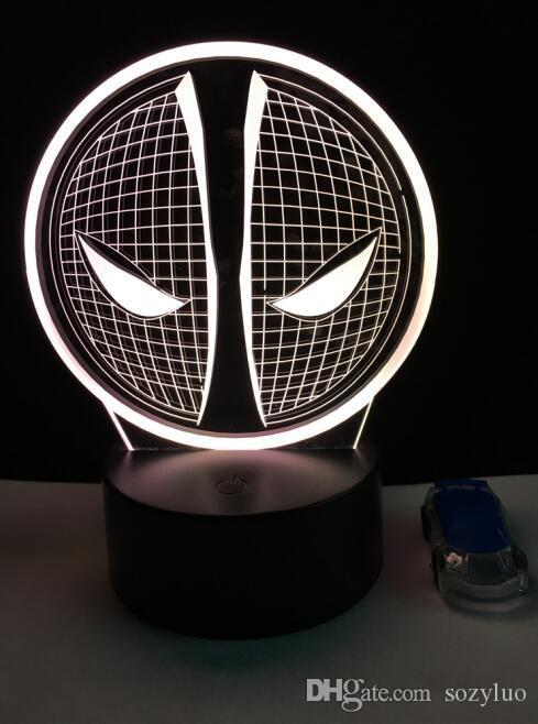 Filme Figura Marvel Deadpool 3D LED Ilusão Interruptor Toque Remoto Luz Da Noite de Natal Mood Crianças Quarto Mesa de Mesa de Iluminação Toy Presentes