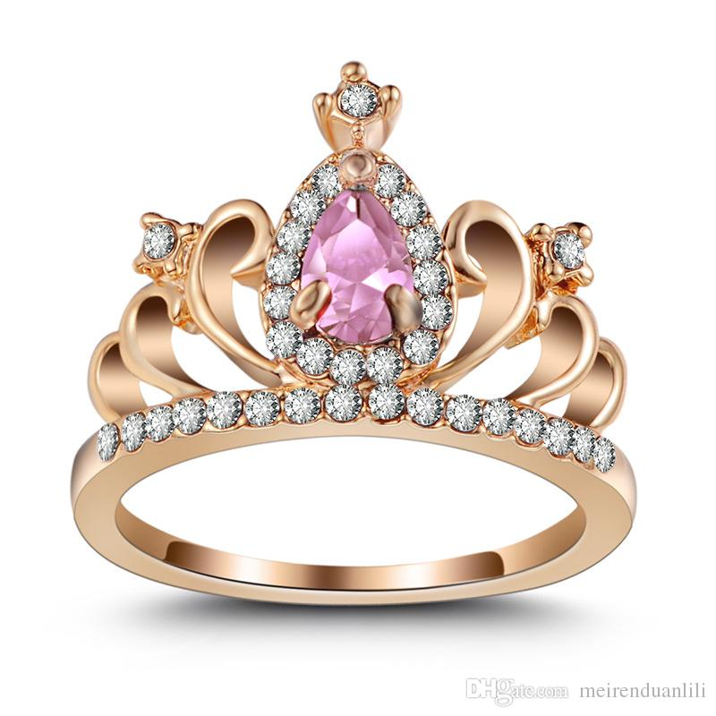 9Styles Crown Design Ring Bling Blue/Pink/Red Zircon Rose Gold/Silver/Gold Color Ring For Elegant Women Lover