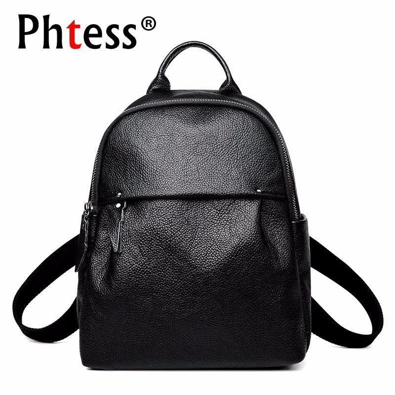 dde69e366e37 2018 Female Leather Backpacks Sac A Dos Black Rucksack For Girls Vintage  Bagpack Travel Solid Ladies Famous Brand Casual Daypack Mesh Backpack  Justice ...