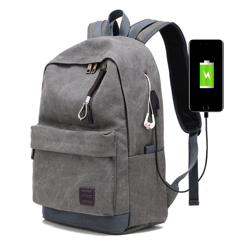 4d228a9eda School Bags For Teenager Boys College Backpack Men Canvas Black Khaki Gray  Coffee USB Pack High Capacity Large Bag Back Pack Hiking Backpack Swiss  Gear ...
