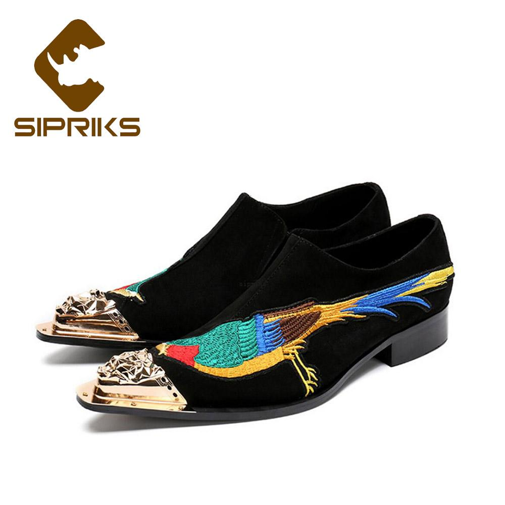 Sipriks Luxury Suede Leather Embroidery Black Men Suit Loafers Wedding  Party Grooms Dress Shoes Fashion Pointed Toe Peacock Shoe High Heel Shoes  Mens Casual ... e2460ecc1e86