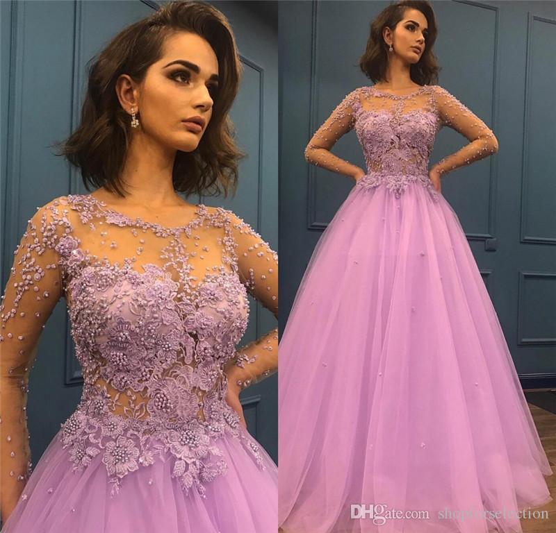 Luxury Purple Long Sleeves Prom Dresses 2019 A Line Pearls Beaded Vintage  Lace Plus Size Girls Pageant Formal Evening Party Gowns