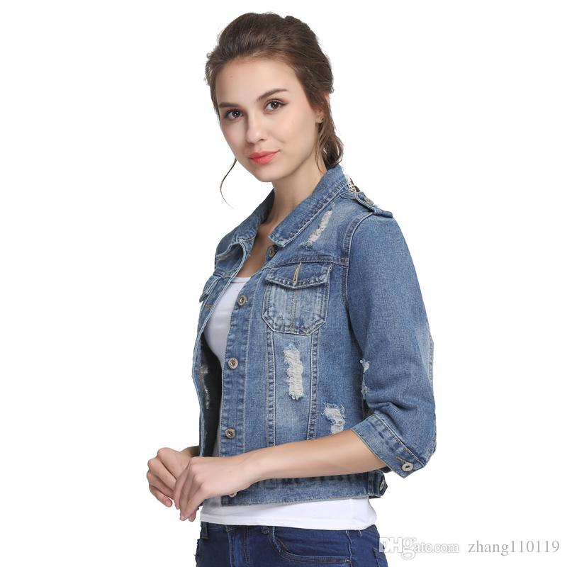 0e3d2feeac1 Plus Size 5XL 6XL Summer Denim Jacket Women 2018 Three Quarter Slim Cotton  Light Washed Short Jeans Jacket Coats Quilted Jacket Rain Jacket From  Zhang110119 ...