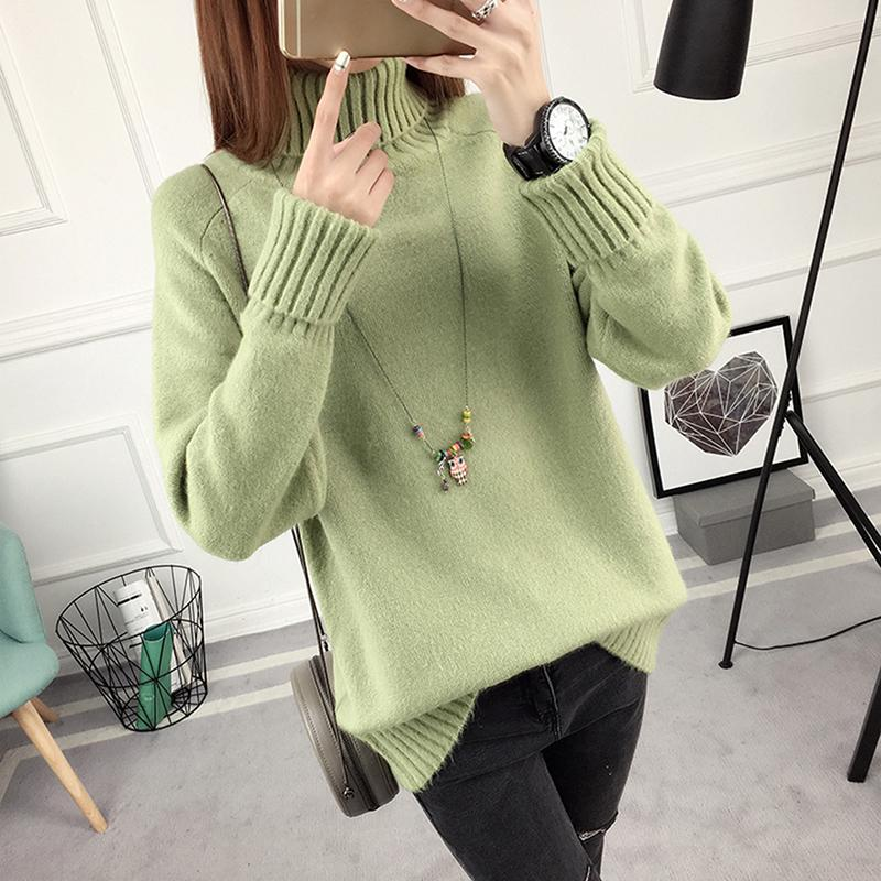 ad43ee5896 Winter Sweater Women Turtleneck 2018 Long Sleeve Tricot Women Sweaters And Pullovers  Female Knitted Jumper Jersey Tops Online with  36.62 Piece on ...