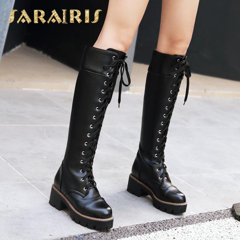 a7182440 Compre SARAIRIS 2018 Moda Más Tamaño 34 43 Tacones Cuadrados Botas Zapatos  De Mujer Botas De Mujer Hasta La Rodilla Mujer Martin A $44.76 Del Grapeen  ...