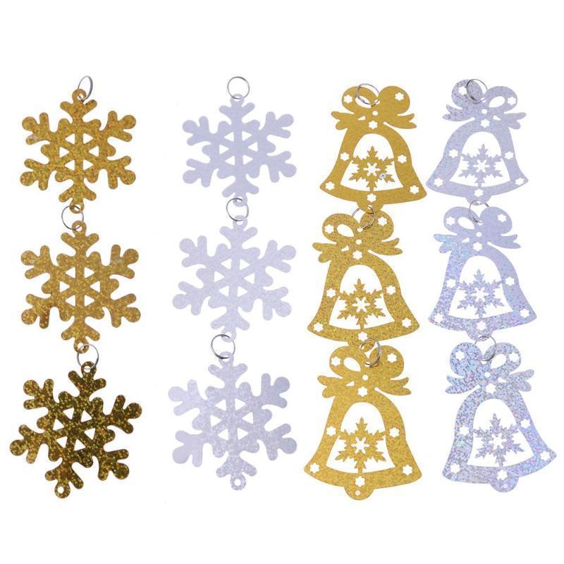 Compre 24 Unids / Set DIY Copos De Nieve De Navidad Campana Colgante ...