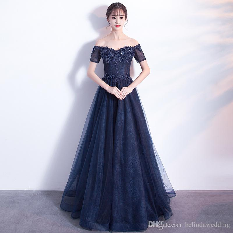 5da2ee99b66 Sexy Royal Blue Beading Prom Dresses A Line Chiffon Off The Shoulder Floor  Length Lace Elegant Long Evening Dress Formal Dress Pink Prom Dresses Uk Von  Maur ...