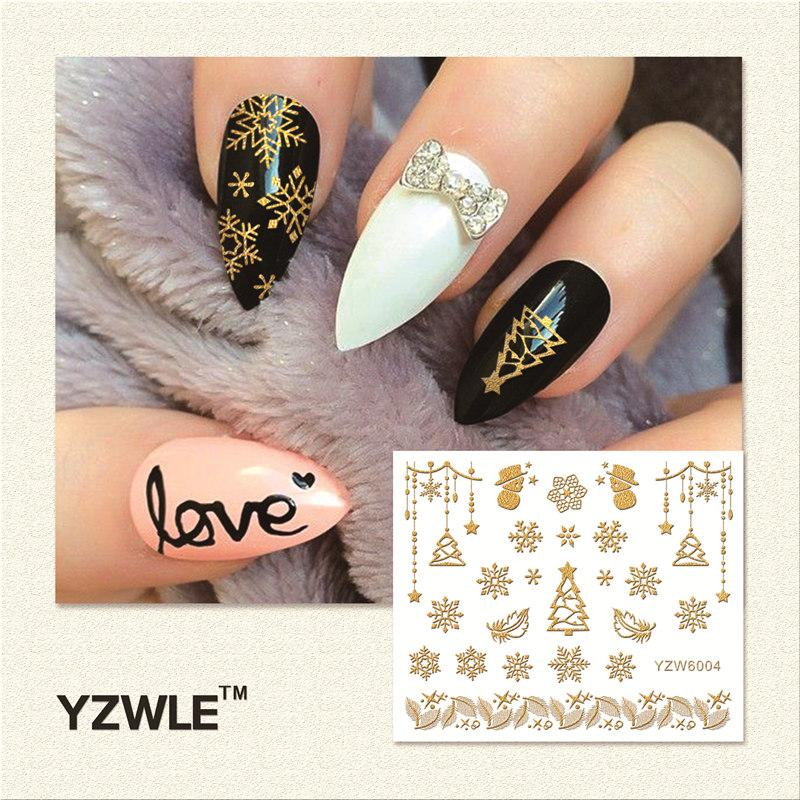 Yzwle 1 Sheet Hot Gold 3d Nail Art Stickers Diy Nail Decorations ...